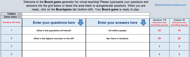 Virtual board game Data questions and answers