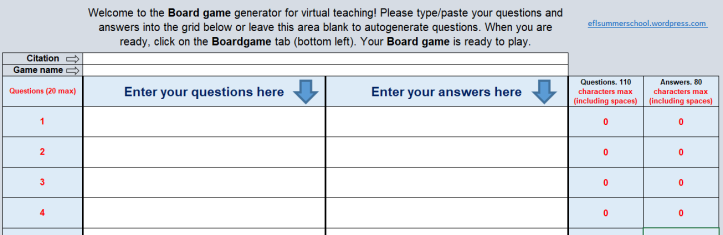 Virtual board game Data tab