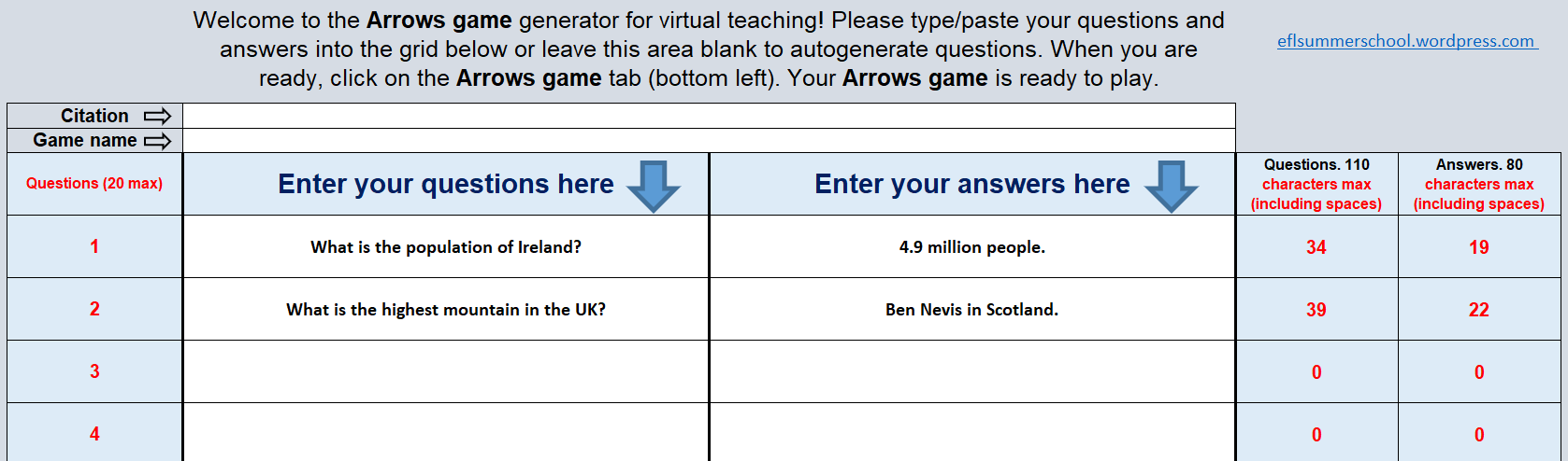 Arrows game data with questions and answers