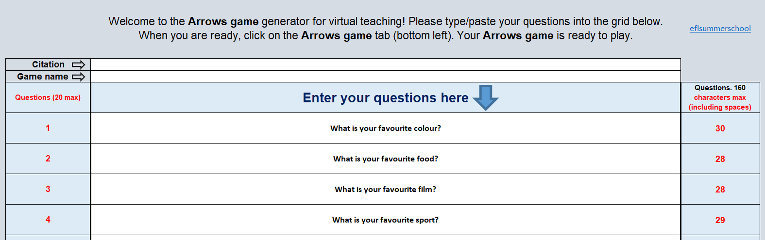 Arrows game generator. Data page examples
