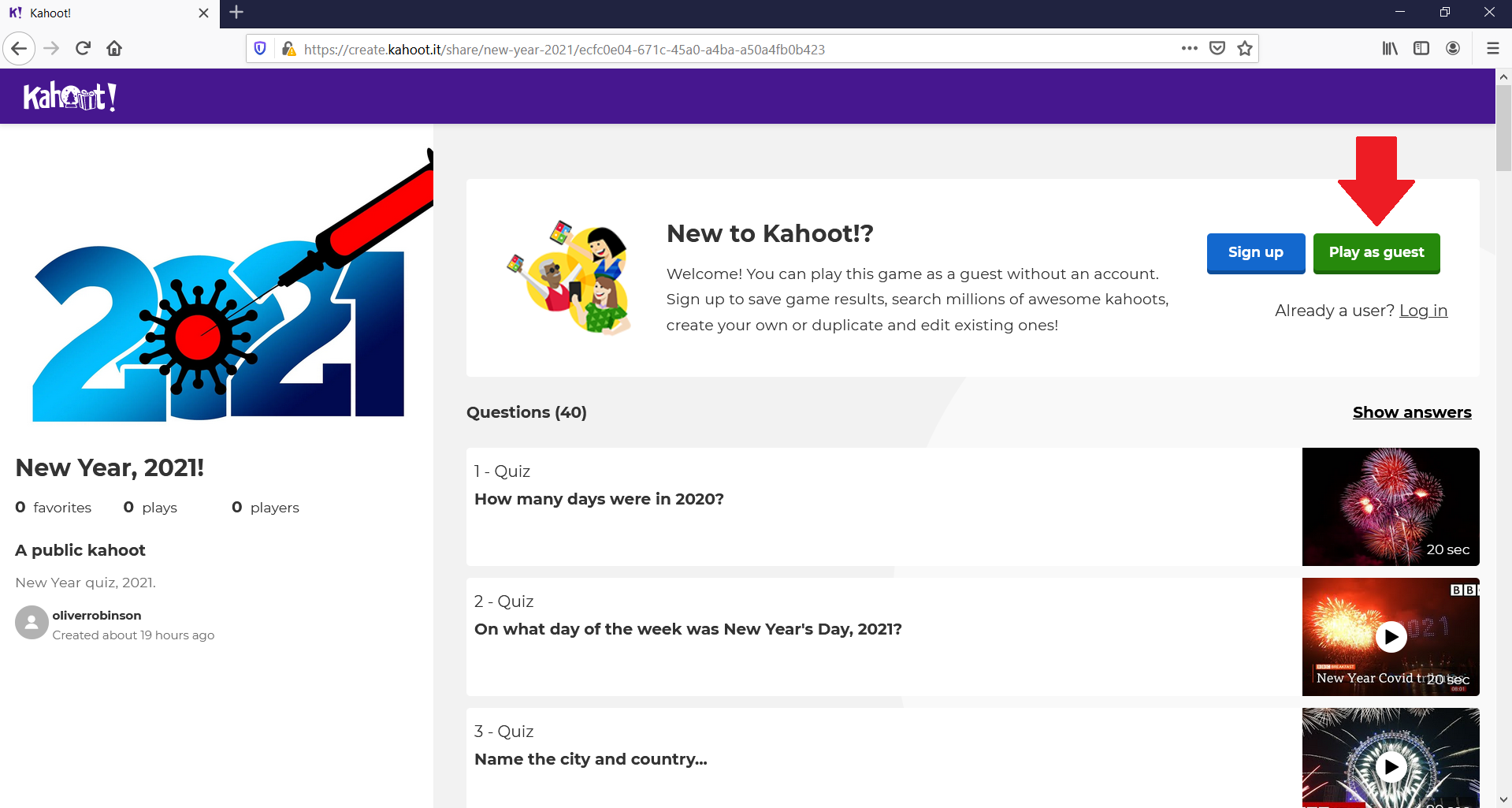 Kahoot quiz front page