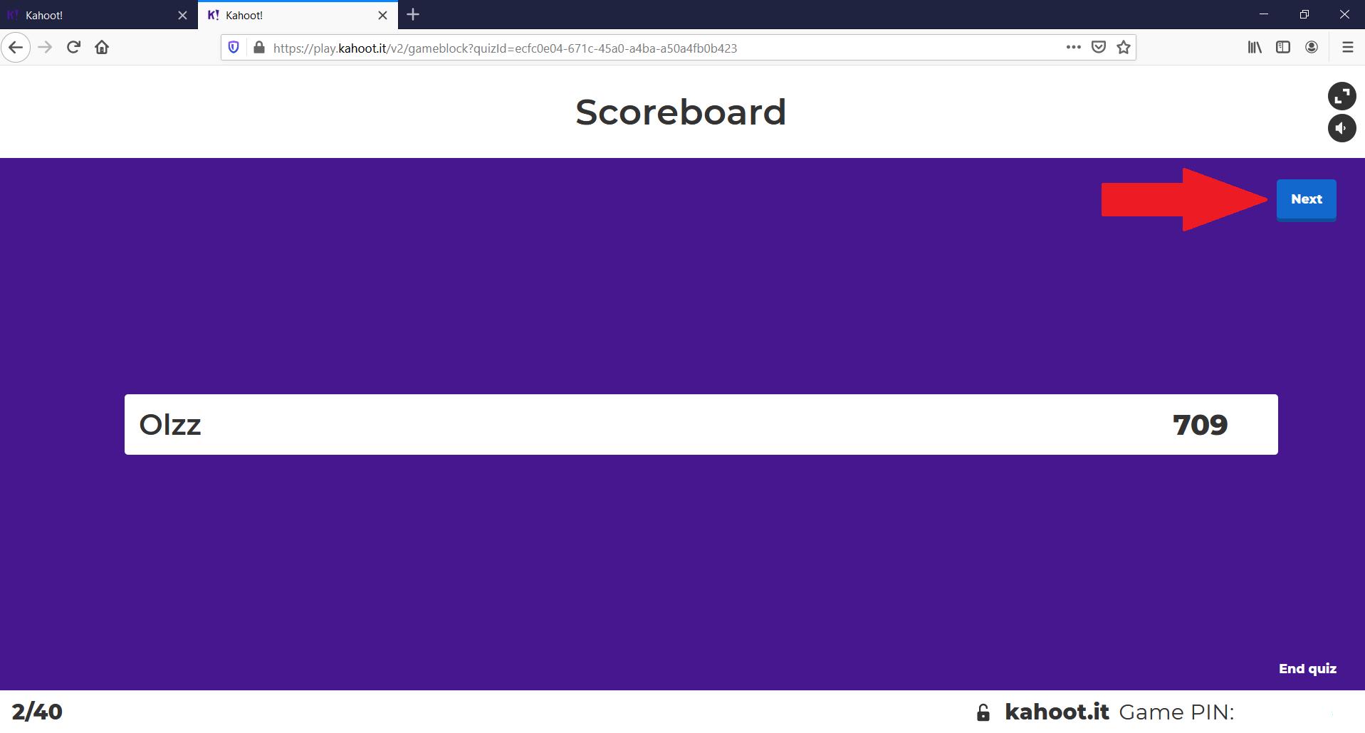 Kahoot quiz scoreboard