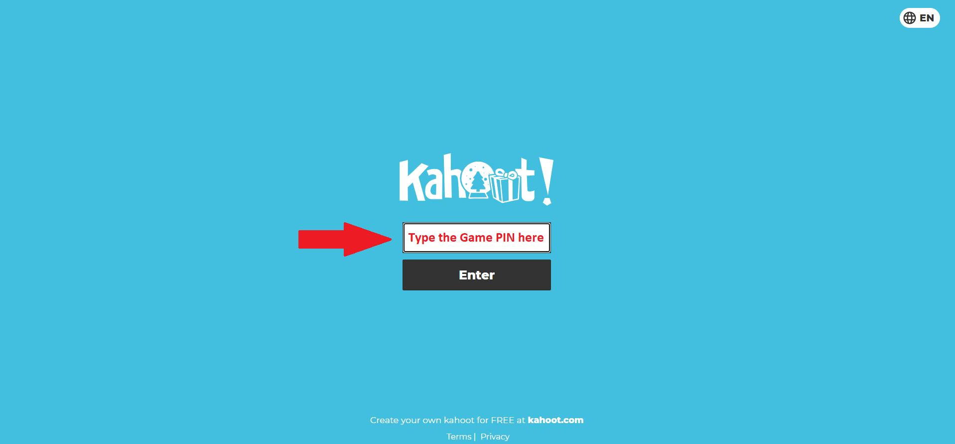 Kahoot.it game pin
