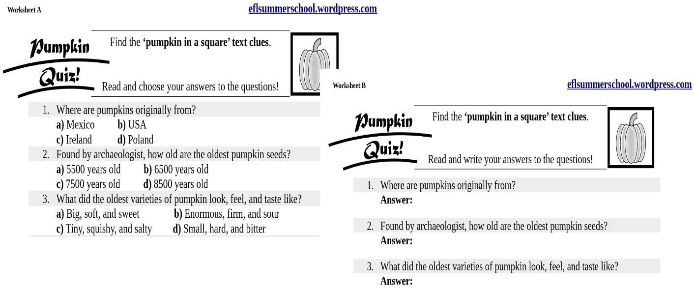 Pumpkin quiz. Worksheets